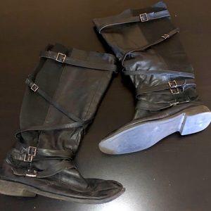 Black Wide Width Below the Knee Strappy Boot, 11W